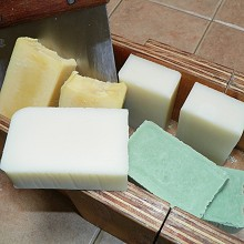 Fresh Soap, Rebatched, Sliced, and Ready for Sale